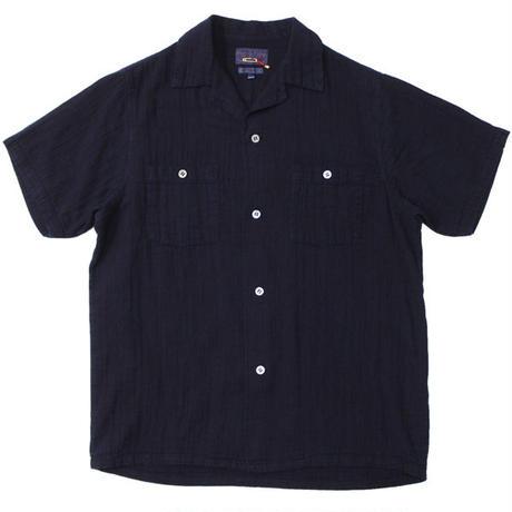 """BLUE BLUE JAPAN(ブルーブルージャパン)""""シャットルダブルガーゼテゾメオープンカラーシャツ SSシャツ"""""""