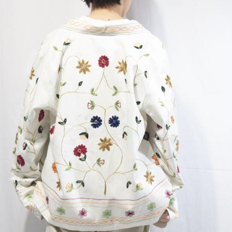 All Flower White Cotton Jacket