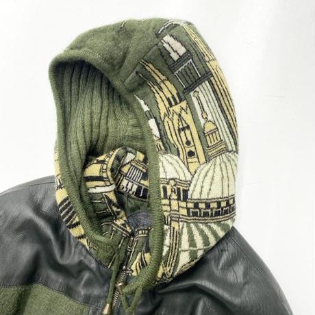 Vintage Aladdin Knit×Leather Hoodie