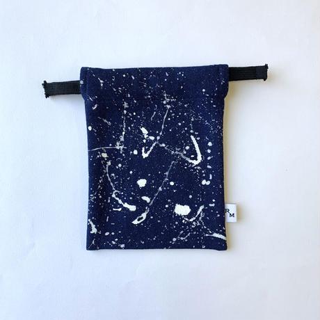 DENIM  POUCH  MINI -3343 indigo/white 18cm×14cm