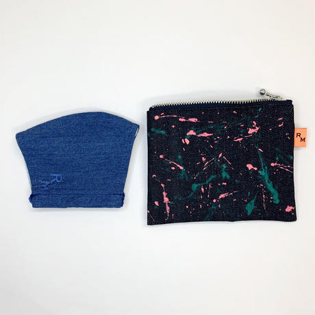 DENIM  POUCH  MINI -009 blue purple ×pink