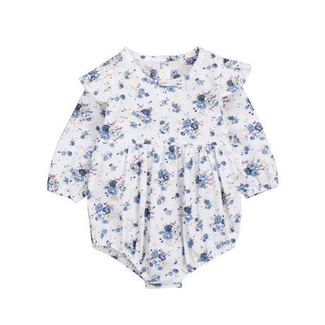 ブルー 花柄ロンパース(368)