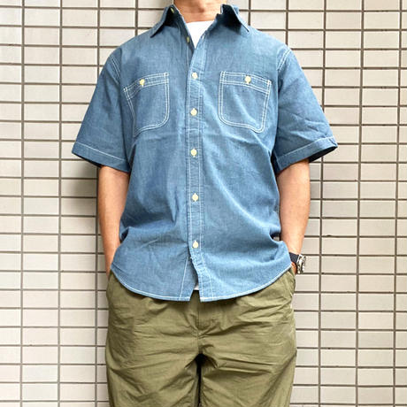 CAMCO(カムコ) CHAMBRAY WORK S/S Shirts BLUE 半袖 シャンブレーシャツ