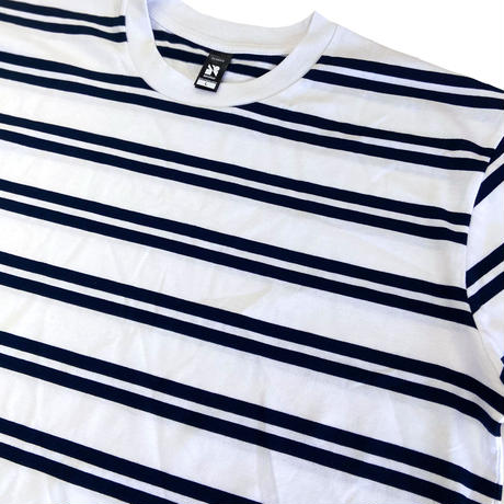 AS COLOUR Classic Stripe Tee WhitexNavy エーエスカラー ボーダー Tシャツ