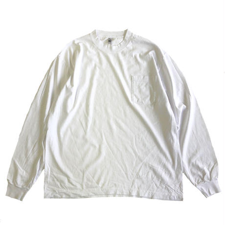 LOS ANGELES APPAREL 6.5oz Garment Dye  Pocket L/S TEE WHITE  ロサンゼルスアパレル 長袖Tシャツ ロンT