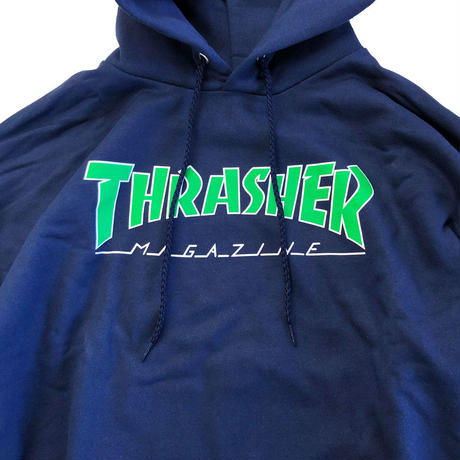 THRASHER  OUTLINED HOOD NAVY スラッシャー パーカー
