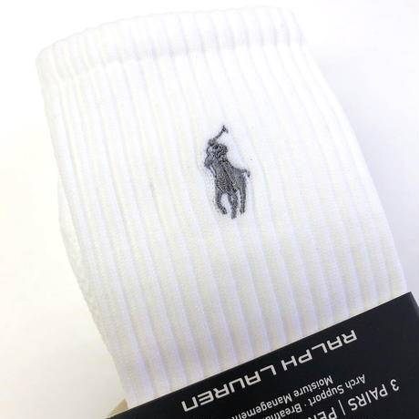 POLO SPORT Ralph Lauren / 3pairs PERFORMANCE CREW SOCKS WHITE ポロ ラルフローレン 靴下 ソックス