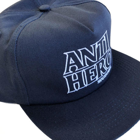 ANTI HERO BLACK HERO OUTLINE EMBROIDERY  SNAPBACK NAVY キャップ