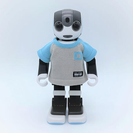 "ROBO-UNI<ロボホン公式ライセンス商品> ""ロボホン弟誕生記念第一弾""ロボホンニットTシャツ(スカイブルー×ライトグレー)"
