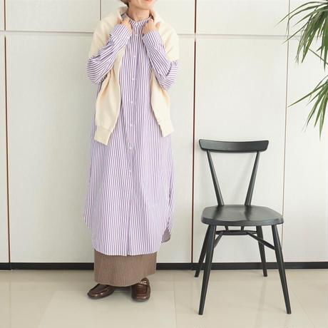【3日間限定予約】ノーカラーストライプシャツワンピース(S-0024)