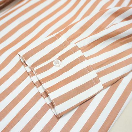 【一般販売・数量限定】スタンドカラーストライプシャツワンピース(S-003)