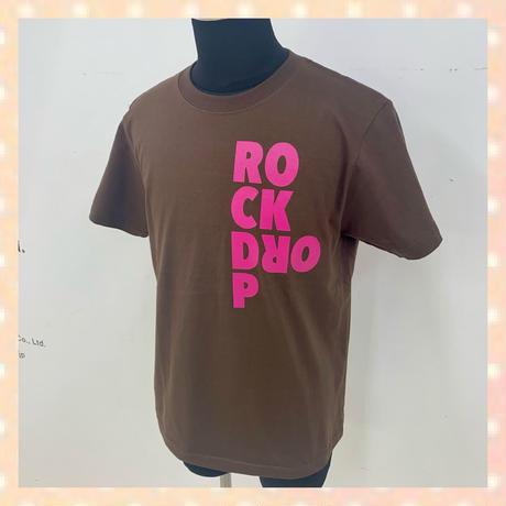 「ROCK DROP」Tee / ブラウンxピンク