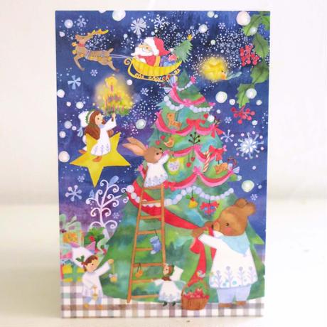 ポストカード クリスマスツリーと雪