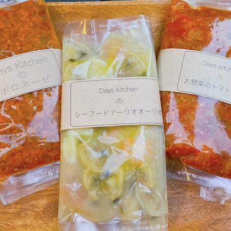 """3種類の自家製パスタソース《 トマト / シーフード/ボロネーゼ / 計6食》 From """"Days Kitchen@神戸元町"""""""
