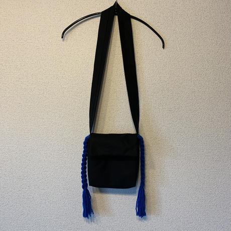 三つ編みポシェット:ブルー
