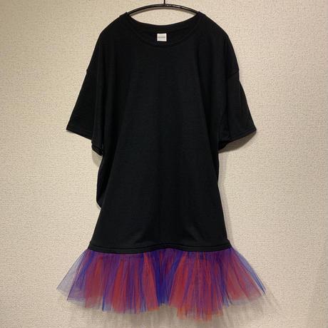 Tシャツチュールワンピース ブラックT×赤青チュール