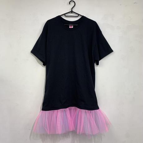 Tシャツチュールワンピース ブラックT×ピンク水色チュール