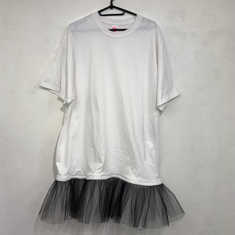 Tシャツチュールワンピース 白T×黒白チュール