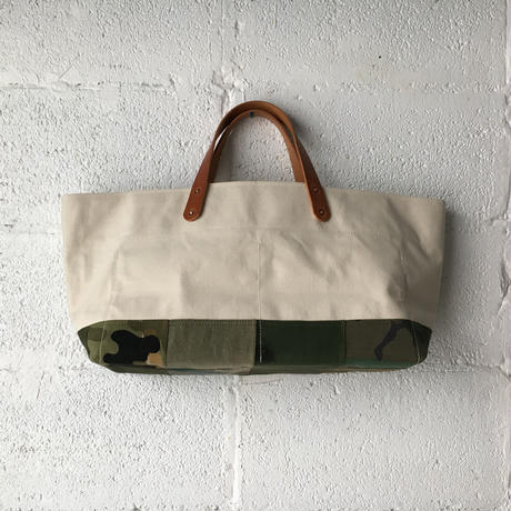 #356 Japanese canvas and VTG patched tote large short
