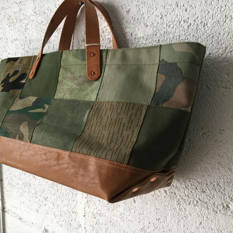 #349 patched tote large short with leather