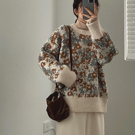 2color :Retro flower Pattern Knit 90279 送料無料