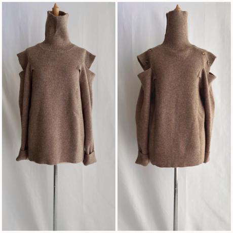 【即納】 2color : Open Shoulder Turtleneck Knit 90133 送料無料