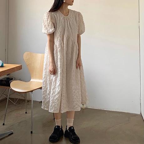 Puff Sleeve Wrinkle Dress 90304 送料無料