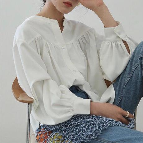 ■再販■2color : Band collar Gather Blouse 130  送料無料