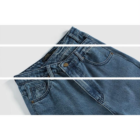 2color : Double Waist Layered Style Denim 90248 送料無料