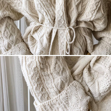 2color:Aran Knit Cardigan 送料無料