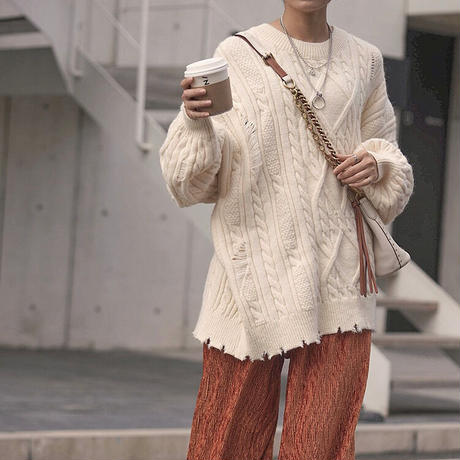 2color : Damage Cable Knit 90267 送料無料