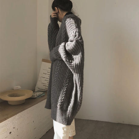 2color : Over Cable Knit Cardigan 90232 送料無料
