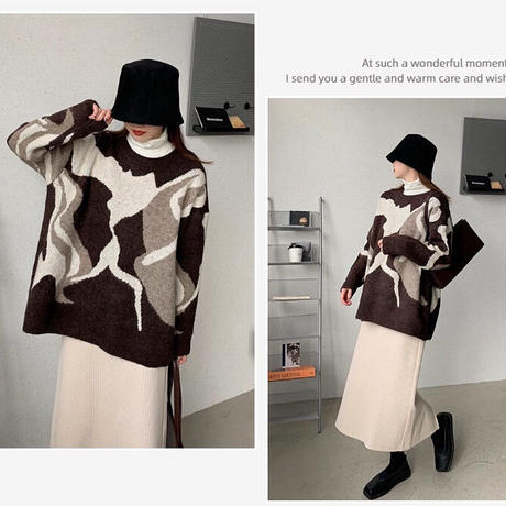 Brown Nuance  Pattern Knit 90274 送料無料
