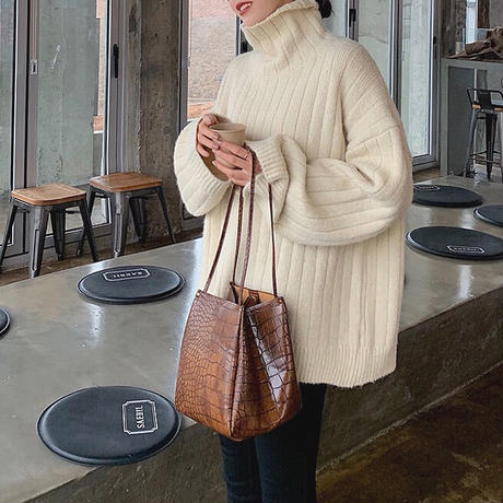 Wide Rib Over Highneck Knit 90244 送料無料