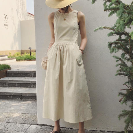 2color:Back Open Cotton Dress 90201   送料無料