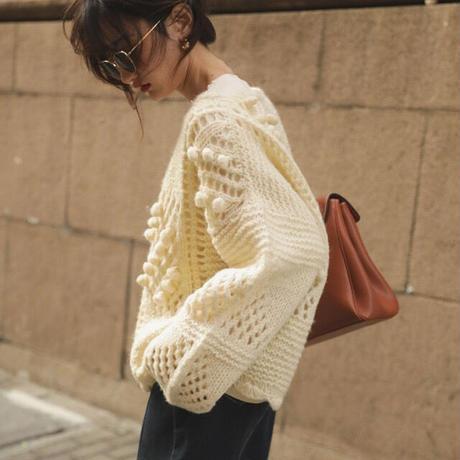"""■再販■ーHand made-""""PON PON""""Random Pattern Knit 90228 送料無料"""