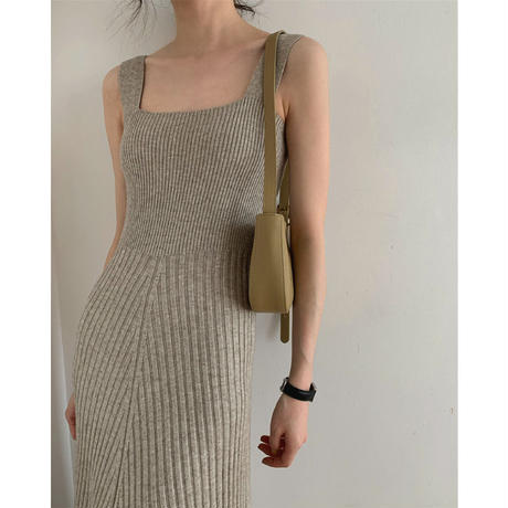 Square neck Long Knit Dress 90218 送料無料