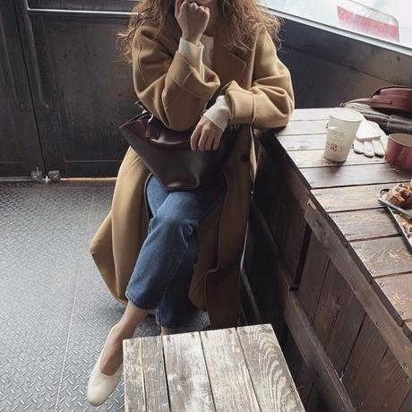 2color:Wool100% Hand Made Stitch Design Long Coat 送料無料