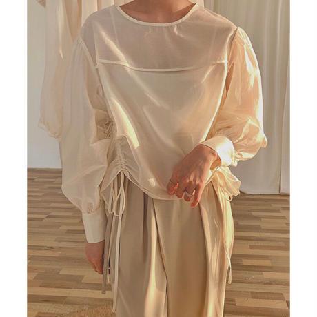 4color : Side Shirring Bishop sleeve Blouse 90289 送料無料