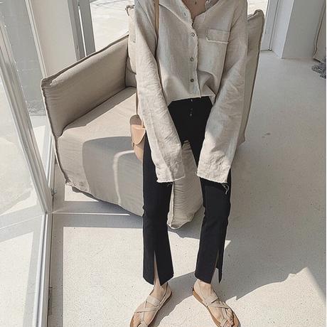 2color:Cotton Linen Cutoff Shirts 送料無料