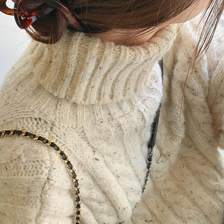 Mix yarn Turtleneck Cable Knit 90265 送料無料