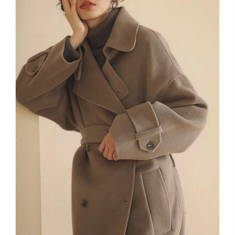 Wool95% + Cashmere5% Hand made Long Trench Coat 90254   送料無料