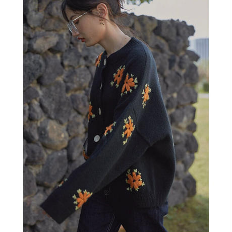 Flower  Embroidery Knit  Cardigan 90284 送料無料