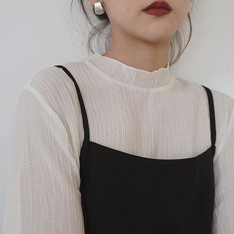 Stand collar Crepe Sheer Tops   182 送料無料