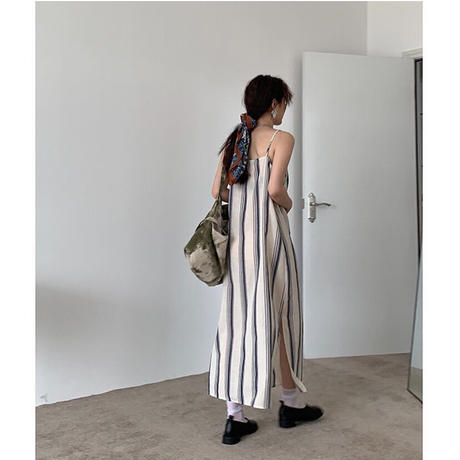 Linen Stripe Dress 90294 送料無料