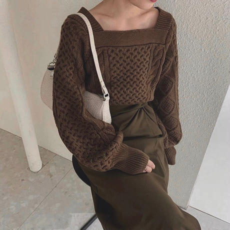 Square neck Cable Knit 142 送料無料
