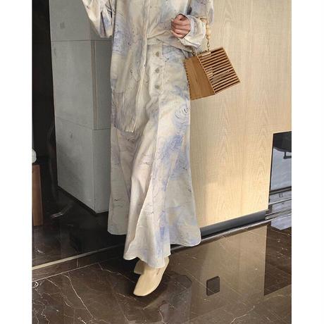 /2点SET /  Spring Nuance Marble Shirts + Skirt SET 90293 送料無料