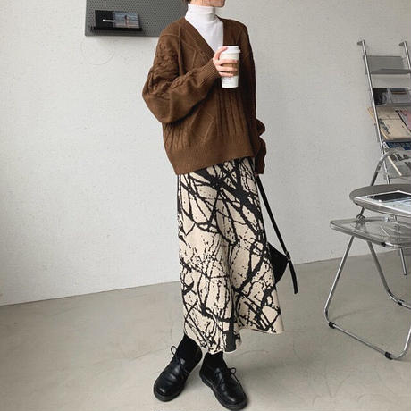 2color : Artistic line Knit Skirt 90277 送料無料