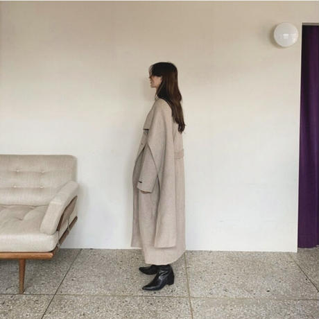 2color : Wool100% Hand made Droped Scarf  Long Coat 90255   送料無料