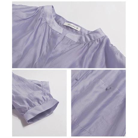 2color : Standcollar Sheer Shirts 90194 送料無料